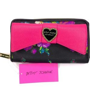 Betsey Johnson Big Bow Floral Zip Around Wallet